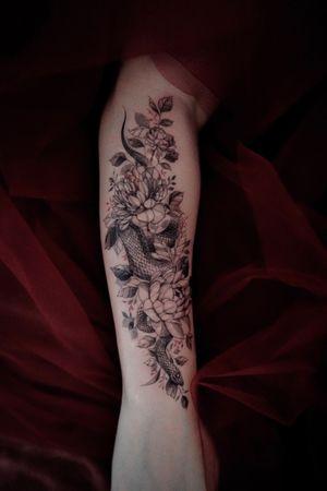 peonies and a snake #snake #flower #fineline #blackwork #linework #delicate #detail #illustration