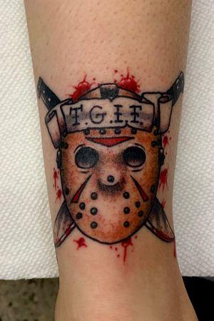 Traditional Jason mask tattoo