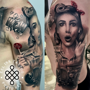 Pin up girl portrait holding lollipop. done at : Eel ink Porto heli