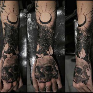 #crowtattoo #skulltattoo . #crowandskulltattoo #tattooartistfromCT #tattoofromhell #customtattoo #darkart #artist #tattooartistfromCT #tatuajesenCt #MannyTattooArtist #ManuelCruzTattooArtist #blackandgraytattoo #blackworktattoo #art #artistinCT #ArtFromHell #tattooartistfromCT #darkimagery #blackmoontattoo