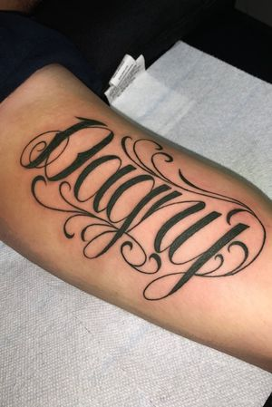 'Dagny' Custom lettering done on bicep