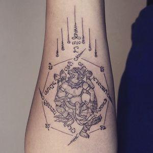 Fine line Sakyant tattoo - Tattoo Chiang Mai #sakyant #thailand #ChiangMai #linework #fineline