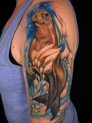 Sea Lion #watercolortattoo #watercolortattoos #illustrative #IllustrativeTattoo #IllustrativeTattoos #paciderm #oceantattoos #sealiontattoos