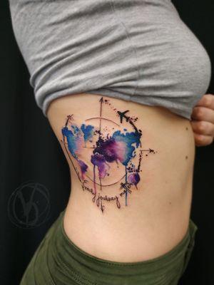 #tattoo #tattooed #tatt #ta2 #polandtattoos #instaart #instatattoo #victoriadenske #watercolortattoo #wctattoos #colortattoo #colored #watercolorstyle #tattoodo #bodyart #tattooart #inkedgirls #ink #inked #sleevetattoo #sketchtattoo #linework #sketchy #worldmaptattoo