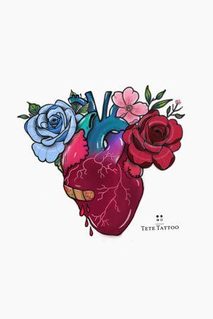 Corazón❤️ ADJUDICADO.😊 #tete #heart #ink #tattoo #tattooartist #neotraditional #neotradi #neotraditionaltattoo #neotraditionaltattoos #colortattoo #colorful #ilovemywork #flowers #flowerstattoo