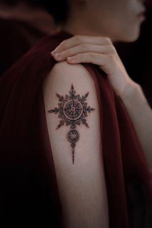 an antique compass #fineline #tattooartist #compass #detail #delicate #moon #linework #blackwork #Black