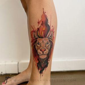 Watercolour Lion.                                                      #watercolourtattoo #perthartist