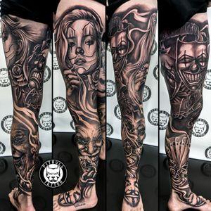 Full leg sleeve tattoo🦵 Style: Black & Grey Chicano⚫⚪ Artist: Ton🇹🇭 . #tattooed #tatts #tats #tattoophuket #thaitattoo #tattoothailand #tattooaddict #tattoolife #tattoo #tattoos #ink #inked #tattooartist #tattoostudio #thailand #phuket #phuketthailand #patong #patongbeach #fulllegsleeve #legtattoo #legsleevetattoo #fulllegtattoo #chicanotattoo #blackandgreytattoo #casinotattoo #chicanostattoo #gamblingtattoo #jokertattoo #anonymoustattoo