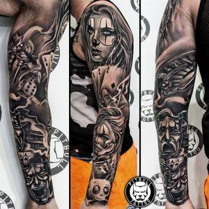 Full arm sleeve Tattoo🎭🎲 Black & Grey Chicano Style⚫⚪ Made by Ton🇹🇭 . #tattooed #tatts #tats #tattoophuket #thaitattoo #tattoothailand #tattooaddict #tattoolife #tattoo #tattoos #ink #inked #tattooartist #tattoostudio #inktober #thailand #phuket #phuketthailand #igersthailand #patong #patongbeach #gamblingtattoo #casinotattoo #armsleeve #armsleevetattoo #blackandgreytattoo #chicanostattoo #chicanotattoo #fullarmtattoo #fullarmsleeve