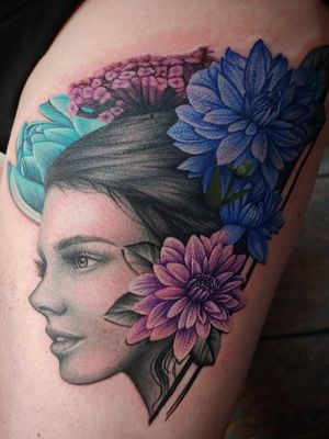 Lady with flowers in cancer colors for the lovely women in her family
