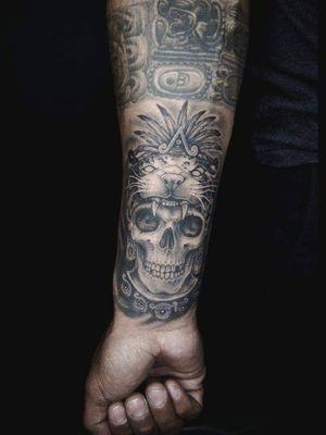 #Skull #Aztec #Jaguar #Mexican #Black