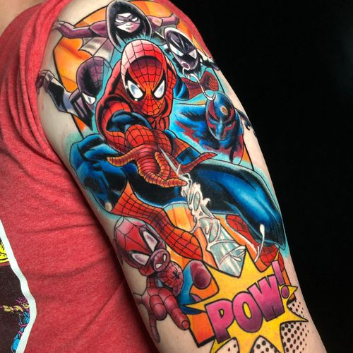 Spiderman Tattoo, i like to mix realism with comics. Done by Ruben Barahona at Graveyard New York City