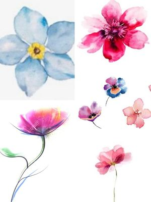 Small size watercolour style flower tattoos £40