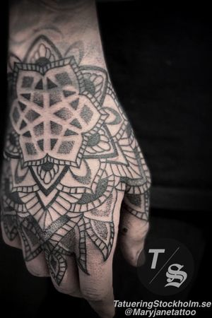 Www.Tatueringstockholm.Se                                               Hand mandala sacred geometry dotwork tattoo custom design #mandala #sacredgeometry #dotwork #hand #tatueringstockholm #maryjane #maryjanetattoo #geometric #geometry #pattern