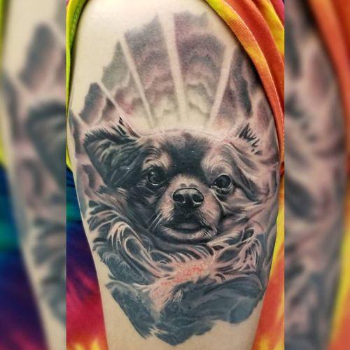 #puppyportrait #puppy #dogportrait #dogtattoo #bestfriend #blackandgreytattoo