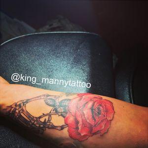 #rose #skull #death #handrose #handandrose #skeletonhand #bones #realism #realisticrose #blackandgrey #beautiful red rose realistic realism skeleton hand black and grey leaves arm sleeve