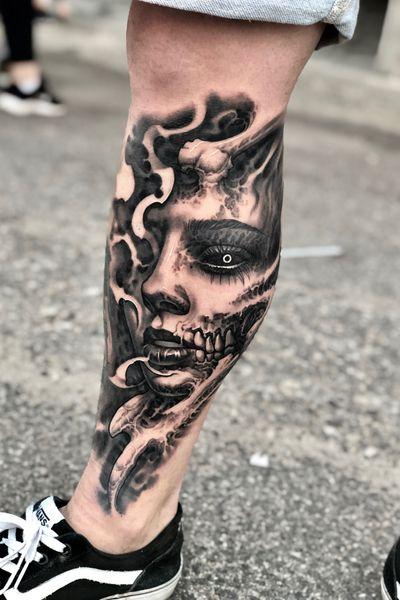 #freehand #legtattoo #demon #bio #skull #evil #horror
