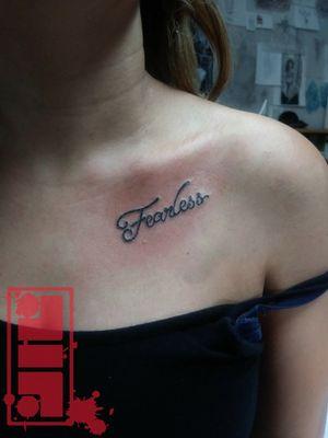 #fearless...#letteringtattoo #fonttattoos #declaration #byjncustoms