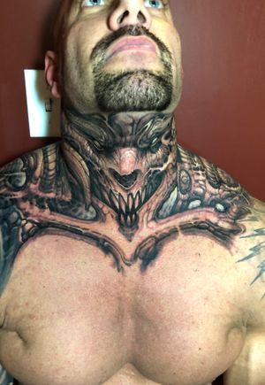 #beast #neektattoo #demon #horror #blackandgrey #boyetattoo #freehand