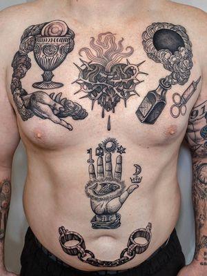 Patchwork on torso.