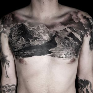 Black and Grey Realism tattoo by Kari Barba #KariBarba #blackandgrey #realism #realistic #Illustrativerealism #landscape #mountains #chesttattoo