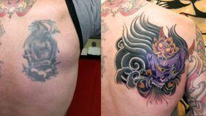 Cover up tattoo using Japanese hanya mask