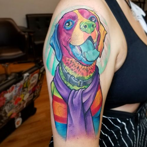 Dante-fied puppy portrait  #disneytattoo #disney #coco #dogportrait #cartoontattoo