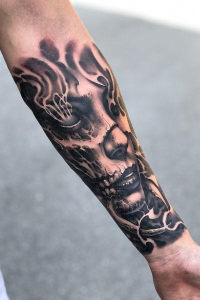 #demon #armtattoo #horror #freehand #boyetattoo #darkart #skull #girltattoo