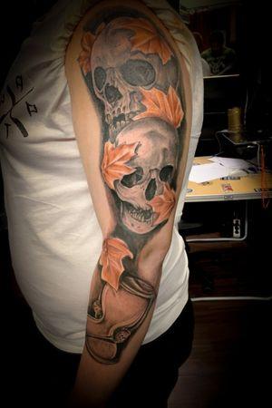 #skulltattoo#sleeve#inprogress#austriantattois#tattoo#in#skull#tattooist#bertl#wien#