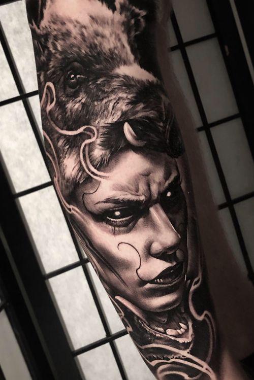 #boahunter #huntertattoo #blackandgrey #evil #dark #art