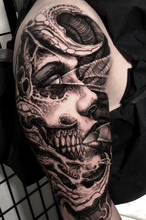 #demon #armtattoo #horror #freehand #boyetattoo #darkart #skull #girl #bio