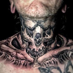 #demon #necktattoo #horror #freehand #boyetattoo #darkart