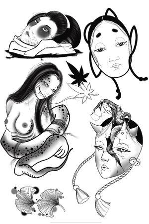 Japanese inspired ladies. #nohmask #gore #blackwork #ginkoleaves #namikubi