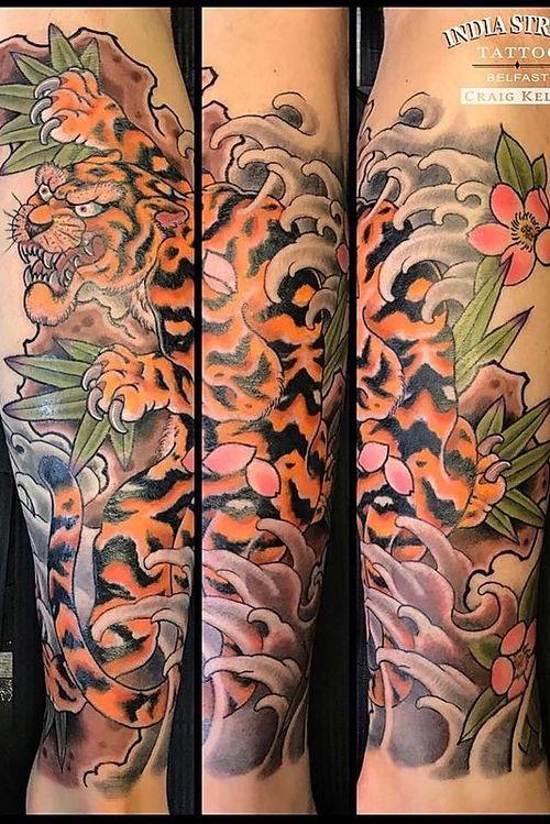 Japanese tiger half sleeve