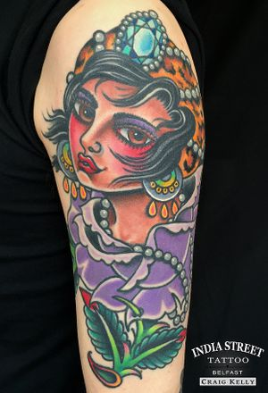 Traditional girlhead and rose design by Craig Kelly