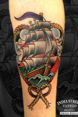 Traditional old school ship tattoo by Craig Kelly