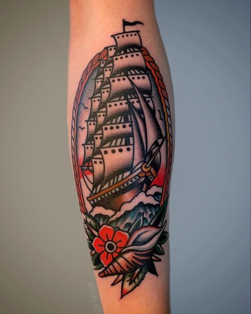 Ship tattoo by Stef Bastian #StefBastian #traditionaltattoo #traditional #ship #ocean #shell #conch #flower