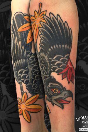 Traditional crow tattoo by Craig Kelly
