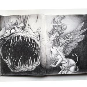 #angel #anglerfish #angelwings #DarkArt #blackandgrey #flash #design