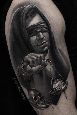 The justice is a man #blackandgray #justice #moscow #tattoomsk