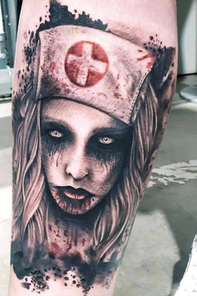 Nurse by Dany Tattoo Studio (FR, Pontarlier) #nurse #zombie #horror