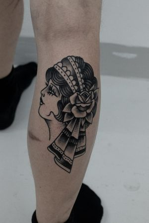 Traditional lady-head. #traditionaltattoos #classictattoos #boldwillhold #ladyhead