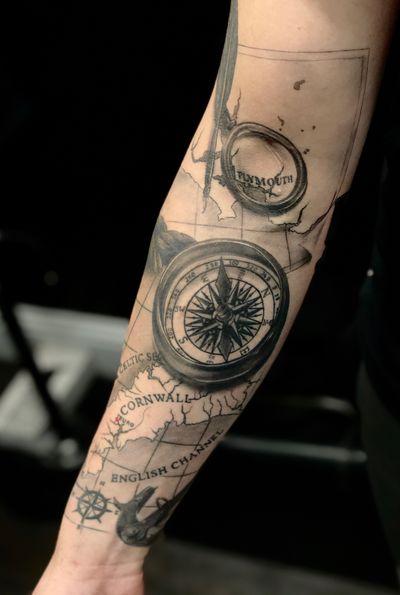 #compass #compasstattoo #map #pirate #anchor #realism #realistic #realistictattoo #pirateship