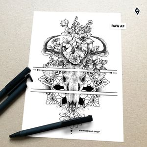 Deer skull + mandala + wildflowers. Would look best on forearm or thigh where those horizontal lines can wrap around. More designs on Instagram (the_rawflow), downloads and commissions in my webshop (www.rawaf.shop) 💾 #dotwork #stippling #deer #skull #mandala