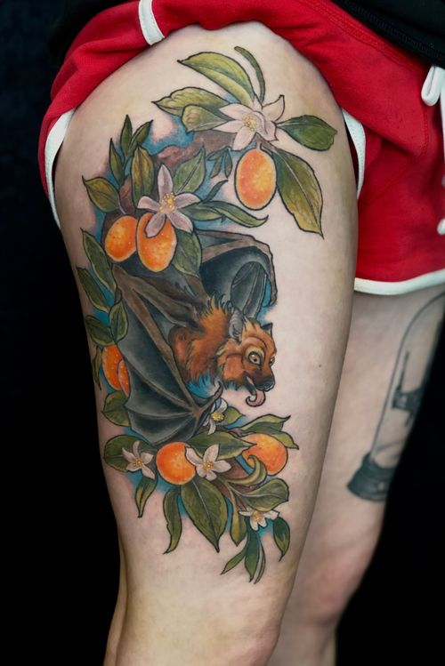 Fruit bat and Kumquats. #denvertattooartist #battattoo #fruitbat
