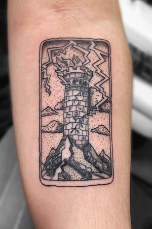 Tower Tarot Card Tattoo #tattoo #tattoos #tattooing #brooklyn #queens #newyork #nyc #cute #love #picoftheday #tattooed #fall #newyorktattoo #blackwork #blacktattoo #tattooideas #tattoostyle #tattooartist #tattooist #tattooer #tarot #tarotcard #tarotcardtattoo #tower #towertarotcard