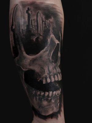 #skull #grave #graveyard #cemetery #morph #forearm #tattoodesigns