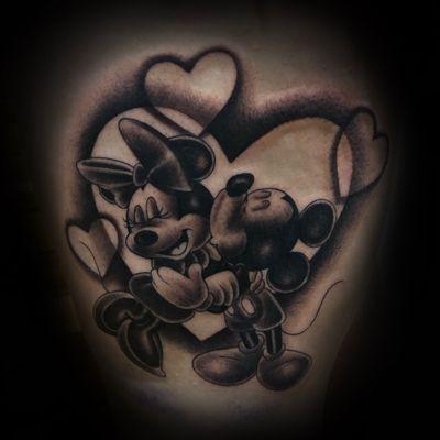 Fine line classic Mickey and Minnie tattoo! • #IronKeyStudio #MickeyMouse #Minniemouse #disneytattoos #blackandgreytattoo #peoriaAZ #azartis #sanjoseca #bayarea #bayareatattooer #aztattooer