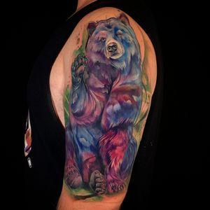 Watercolor Bear. #watercolortattoo #watercolortattoos #watercolor #watercolour #beartattoo #grizzlybear #watercolorbear