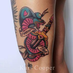 By @kcoopertattoo #tattoo #tattoos #traditionaltattoo #oldschooltattoo #classictattoo #boldwillhold #tradtattoo #london #londontattoo #snake #snaketattoo #dagger #daggertattoo